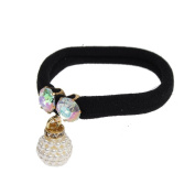 Just Fox Nylon Hair Scrunchie with Pearls and Rhinestones