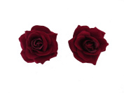 *NEW** X2 BEAUTIFUL LARGE DARK RED ROSE HAIR CLIPS - BURLESQUE 50s DANCE FESTIVAL