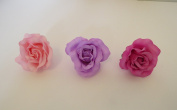 **NEW** X3 LARGE PINK BLUSH LILAC AND BABY PINK PASTEL FABRIC ROSE ON FORK HAIR CLIP - ACCESSORIES WEDDINGS 50s BURLESQUE