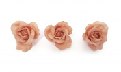 **NEW** X3 LARGE NUDE PASTEL FABRIC ROSE ON FORK HAIR CLIP - ACCESSORIES WEDDINGS 50s BURLESQUE