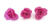 **NEW** X3 LARGE PINK BLUSH PASTEL FABRIC ROSE ON FORK HAIR CLIP - ACCESSORIES WEDDINGS 50s BURLESQUE