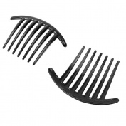Homgaty 2X Women Girls Side Hair Comb Plastic Slides Grips Headwear Accessory Black