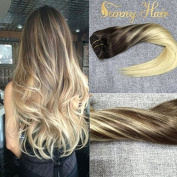 Sunny 120g/set Dip Dyed Clip in Hair Extensions Chestnut Brown Fade to Blonde mixed Brown Full Head Human Hair Extensions 60cm