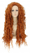 Cocominibox Costume Ginger Curly Wavy Orange Hair Cosplay Party Long Wig 70CM