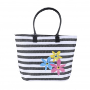 Womens Stripe Woven Paper Straw Beach Tote Bag Floral Colourful Zipped Handbag