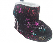 BABY GIRLS FUNKY BLACK/PINK SUEDETTE SPARKLE PRINT SLIPPER BOOTIES 6-9 MONTHS 9-12 MONTH 12-15 MONTHS BY SOFT TOUCH