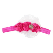 VANKER Cute Adorable Child Baby Girl Lace Flower Headband Soft Elastic Hair Accessory Hot Pink