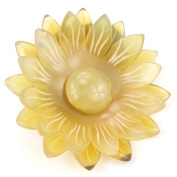 Elastic Ponytail Holder Real natural Horn - Engraved daisy flower