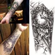 1 Pc Temporary 3D Waterproof Tattoo Sticker Retro Clock Shoulder Arm Body Art Tattoos