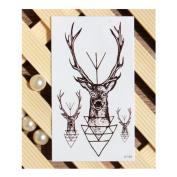 1 Pc Waterproof Temporary Tattoo Sticker Elk Head Deer Body Art Tattoos 6*10.5cm