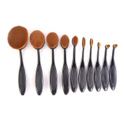 10pcs Oval Make Up Brush Kit Gold Toothbrush Shaped Soft Liquid Cosmetic Cream Foundation Powder Eyeshadow Makeup Brushes Blush Set Gold Black