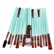 Saingace® 15 Pcs Women Lady Pro Makeup Brush Set tools Make-up Toiletry Kit Wool Make Up Brush Set Included Foundation Powder Brush Lip Brush Mascara Brush Eyeshadow Brush Two Side Brush Eyebrow Mascara Brush Sponge Brush Smudge Brush Nose Shadow Brush ..