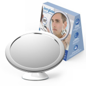 Jerrybox Fogless Shower Mirror for Shaving and Makeup, AdjustableCollapsible Bathroom Mirror with Powerful Locking Suction Cup, 360 Degree Rotation, White,Makes a Great Gift