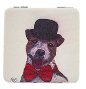 Handbag Pocket Cosmetic Mirror Dapper Dog Design - Novelty Fun Gift for Dog Lover
