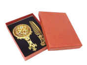 Remi Bijou - Oriental Mirror and Comb Set Gold Colour Diamante Flower Floral - Gift Box