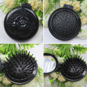 1PC Retro Black Roses Folded Airbag Comb With Mirror Portable