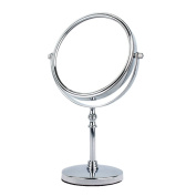 EYX Formula 15cm Unbreakable Double-sided Table Stand Vanity Mirror,with A 3X Magnification, Chrome/Nickel Finish