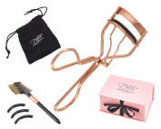 Luxury Rose Gold Professional Eyelash Curler Kit - Complete With Eyelash Comb, Eyebrow Brush, Black Velvet Travel Pouch & 3 Spare Refill Pads - Comes In A Beautiful Pink Gift Box. Premium Quality - Perfect Travel Set! Recommended By Makeup Artists.