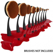 ZHUOTOP Pro Cosmetic Organiser Rack Acrylic Holder Stand For 10Pcs Toothbrush Makeup Brush Red