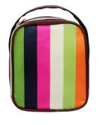 HOYOFO Stripe Satin Makeup Organise Travel Toiletry Bag,Rainbow