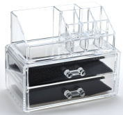 FiveSeasonStuff® Clear Acrylic Cosmetic Make-Up Organiser Holder with 9 Storage Compartments and 2 Bottom Pull-Out Drawers