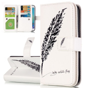 Samsung Galaxy S6 Edge Case, ISAKEN Galaxy S6 Edge Case, Samsung Galaxy S6 Edge Wallet Case, Luxury Elegant Printing Drawing Design Pattern Magnetic Flip PU Leather Case Credit Card Holder Slot Protective with Stand Function Case Cover for Samsung Gala ..