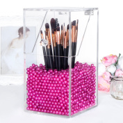 Langforth Makeup Brush Holder Dustproof Box Premium Quality 5mm Thick Acrylic Organiser Oragniser Cosmetic Storage Display Case Lid With Rosy Pearl Large 1770ml