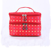 Fieans Fashion Cute Lady's Dot Pattern Makeup Case Double Layer Dual Zipper Cosmetic Hand Bag Tool Storage Toiletry-Red
