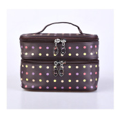Fieans Polka Dots Double-Layer Toiletry/Cosmetic/Makeup Bag Travel Wash Organiser Case-Coffee