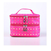 Fieans Fashion Cute Lady's Dot Pattern Makeup Case Double Layer Dual Zipper Cosmetic Hand Bag Tool Storage Toiletry-Rose Red