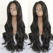 PlatinumHair black natural body wave synthetic lace front wavy wigs heat resistant synthetic wigs 60cm - 70cm