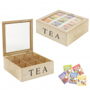 9 Compartments Wooden Tea Chest Storage Box Coffee Capsule Kitchen Glass Lid