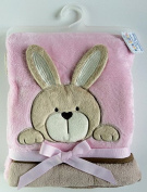 Cute crinkle ear bunny/bear fleece blanket by Soft Touch Neutral (Pink) Bunny