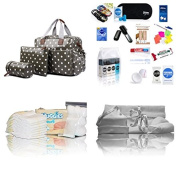Luxury pre-packed 4 piece Miss Lulu oilcloth baby changing hospital/maternity bag for Mum & Baby (grey polka dot oilcloth wipe clean) - FREE NEXT DAY DELIVERY*