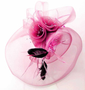 Pink Mesh Floral Net Black Feather Bead Fascinator with PreciousBags Dust Bag