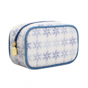 TaylorHe Waterproof Make-up Bag Cosmetic Case Toiletry Bag Pencil Case with Patterns zipped top Six-petal flower, Blue