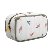 TaylorHe Waterproof Make-up Bag Cosmetic Case Toiletry Bag Pencil Case with Patterns zipped top Colourful Brids, Green