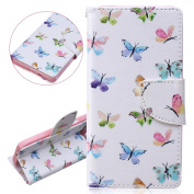 ISAKEN Samsung Galaxy A5 Case, Galaxy A5 (2015 VERSION) Protective Cover, PU Leather Case Cover with Credit Card Holder Luxury Elegant Book Style Case for Samsung Galaxy A5 Drawing Design Pattern Magnetic case with Stand Function - colourful butterflies