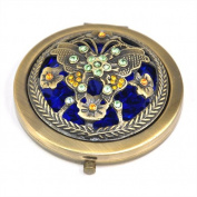 SWT Retro Bronze Multiple Pattern Diamond Pocket Make-Up Compact Mirror --- Great Gift for Wedding / Birthdays / Christmas Day