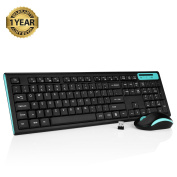 Jelly Comb MK09 Full Size Wireless Keyboard and Mouse Combo Set with Whisper-quiet and UK Layout for Windows/IOS/ Android, Blue and Black
