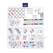 Piercing Kit Mix Lot in a Box Belly Ring Labret Tongue Eyebrow Tragus,14G and 16G - 120 Pieces