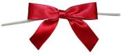 Reliant Ribbon 100 Piece Bow 2.5 Span X 1.75 Tails Twist Tie Ribbon, Scarlet, 1.6cm