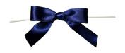 Reliant Ribbon 100 Piece Bow 2.5 Span X 1.75 Tails Twist Tie Ribbon, Navy, 1.6cm