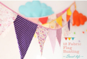 Ellen Tool Fabric Bunting Banners(Set of 12)-100% Durable Cotton-Small Size Kids Flag-Multi-Colourful Flags for Parties, Holidays, Birthdays-Great Celebration & Decoration for Indoor or Outdoor-Purple