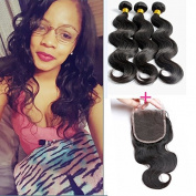 Peony Hair Brazilian Body Wave with Closure Virgin Remy 3 Bundles with 10cm *10cm lace closure 7A grade Uprocessed hair bundles with free part closure