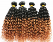 7a 2 Tone Jerry Curl Ombre Hair Weaves Brown Colour 1B 30 Brazilian Human Hair 3 pcs lot Brazilian Jerry Curly Hair Bundles 400g Wavy Hair 1B 30