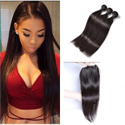 Peony Hair Brazilian Straight Virgin Hair with Closure 3 Bundles with lace closure 7A grade Human hair bundles with free part lace closure