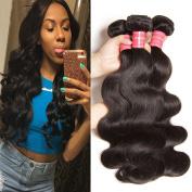 Jolia Hair Virgin Brazilian Hair 3pcs lot Full Head, 100% Unprocessed Brazilian Virgin Body Wave Human Hair Weave Extensions, Natural Colour