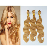Beauty Miss 300g per Set 30cm - 70cm Brazilian Hair Weave 27# Honey Blonde Body Wave Human Hair Weft Human Hair Extensions 3 Bundles