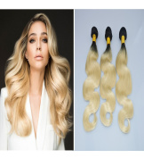 BeautyMiss 300g 30cm - 70cm Colour 1B/613# Ombre Blonde Full Head Hair Extensions Body Wave Ombre Hair Extensions Human Hair Weft 3Bundles/ Set